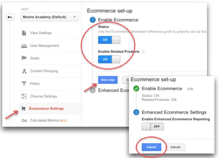 configuração de google analytcs para e-commerce