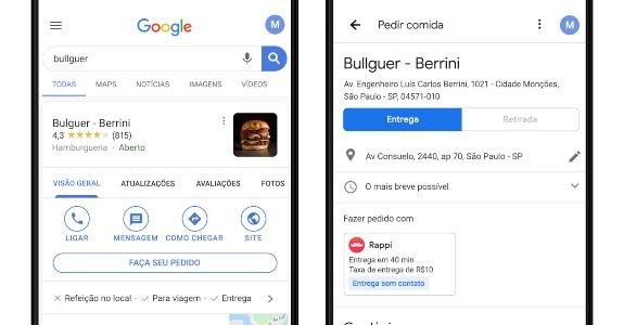 Como pedir delivery com o Google