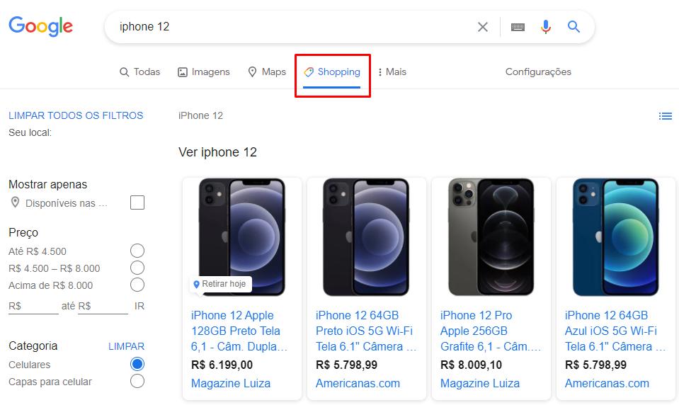 Pesquisa no Google Shopping de produto