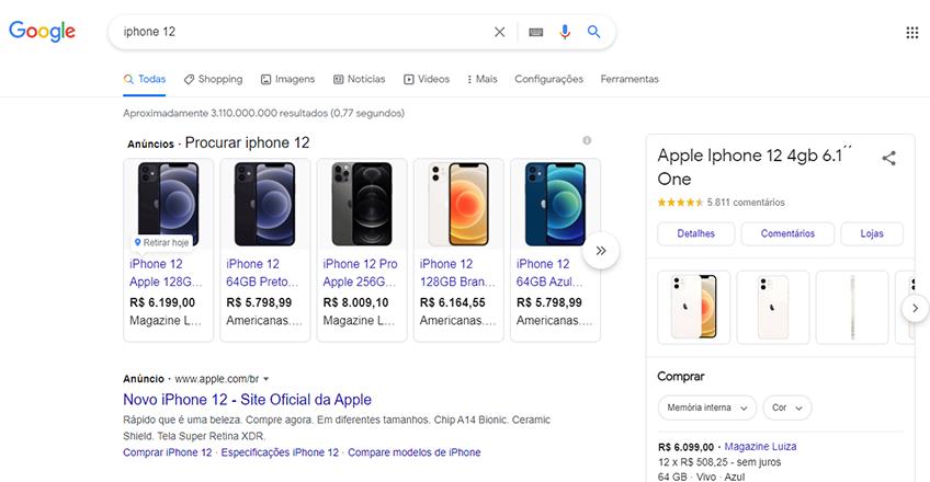 Pesquisa de um produto dentro do Google para mostrar como fica os anúncios de Google Shopping